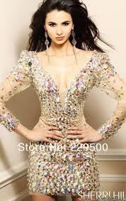 very v neck long sleeve full diamonds backless short sparkly