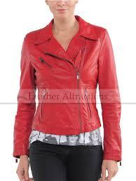 women red biker jacket