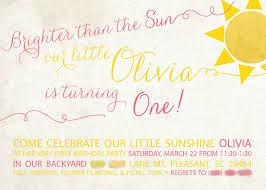 Backyard Birthday Party Invitations You Are My Sunshine Olivia U0027s 1st Birthday Party The Maypop