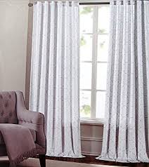 Curtains White And Grey Max Studio Set Of 2 Window Curtains Panels Drapes