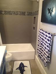 Navy Blue And White Bathroom by Love The Beach Shower Tile Cool Shark Themed Bathroom Off The