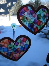 Kids Stained Glass Craft - tissue paper stained glass tissue paper heart shapes and