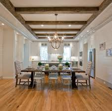 ceiling beams in dining room traditional with recessed lighting