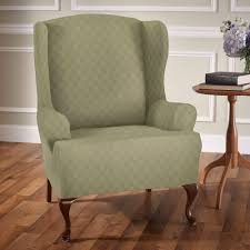wingback chair slipcovers newport stretch wing chair slipcovers