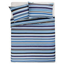 Tesco Bedding Duvet Buy Tesco Blue Stripe Print Duvet Cover Set Double From Our