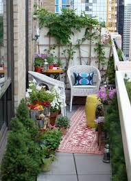 create your own balcony garden design ideas floral tablecloth and