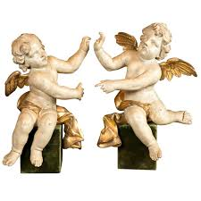 Angel Sculptures A Pair Of Mid 18th Century Italian Angel Sculptures At 1stdibs