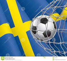 soccer goal swedish flag with a soccer ball stock vector image