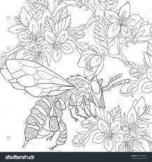 zentangle stylized cartoon bee insect bumblebee stock vector