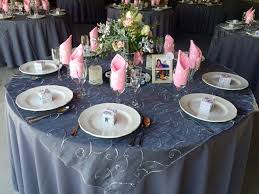 silver lace table overlay dark grey table cloth grey lace overlay light pink napkin gray