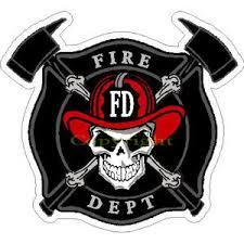 maltese cross w skull firefighter sticker