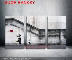 freeshipping canvas only 3 pieces large banksy there is always