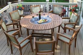 Round Wooden Patio Table by Large Outdoor Round Table With Lazy Susan