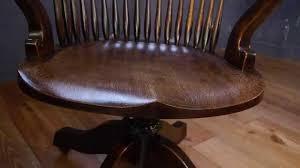 antique solid oak captains swivel desk office chair youtube