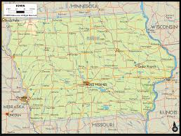 Map Of Des Moines Iowa Physical Map Of Iowa Ezilon Maps