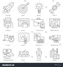 art startup digital vector black startup business icons stock vector 665615704