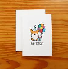 happy birthday corgi greeting card 5x7 card with
