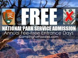 free admission to national parks occurs annually on fee free