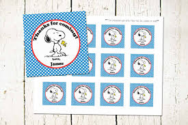 custom snoopy favor tags peanuts labels snoopy party