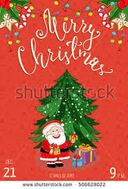 merry christmas greeting card children wearing stock vector
