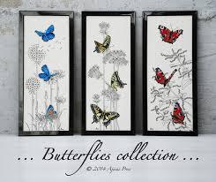 cross stitch and blackwork design peacock butterflies ajisai press