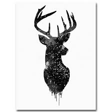 deer head animal minimalist canvas print poster watercolor