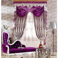 Purple Valances For Bedroom Dark Purple Floral Luxury Blackout Curtains
