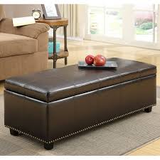 Overstock Ottoman Storage by Simpli Home Kingsley Bonded Leather Storage Ottoman Coffee Brown