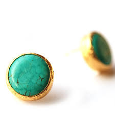 turquoise studs turquoise stud earrings in 18k gold vermeil sterling