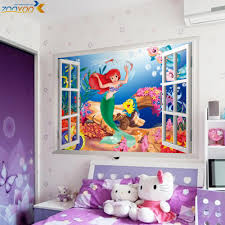 online get cheap mermaid wall decals aliexpress com alibaba group the little mermaid wall stickers for kids rooms bedroom home decoration diy 3d window sticker wall decal for girls room