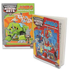 wholesale transformers rescue bots jumbo coloring book asst