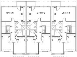 triplex multi family plan 3 bedroom 1 car garage