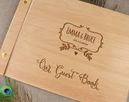 wood guest book etsy