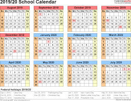 school calendars 2019 2020 as free printable pdf templates