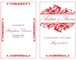 reception program template wedding program etsy