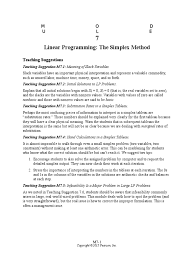 module 7 linear programming the simplex method answers