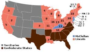 map of the us states in 1865 united states presidential election 1864