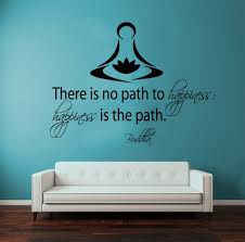 wall decals vinyl decal sticker buddha quote there is no path to wall decals vinyl decal sticker buddha quote there is no path to happiness happiness is the path lotus flower art yoga studio mural interior bedroom decor