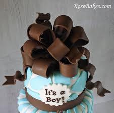 brown u0026 blue zoo animals baby shower cake