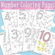 animals number coloring pages easy peasy fun