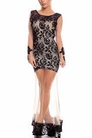 black lace sheer mesh v back maxi party dress long sleeve