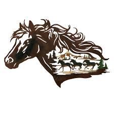 amazon com metal western horse shadow wall art brown home u0026 kitchen