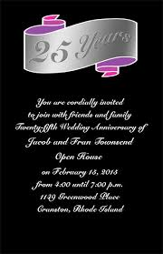 scroll design 25th wedding anniversary invitations item ahn0222