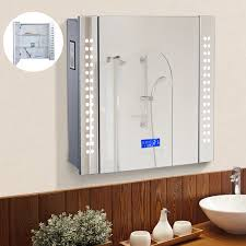 homcom wall led illuminated bathroom mirror cabinet w bluetooth