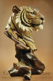 11 high large resin imitate wood carving big cat tiger bust