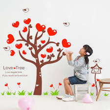 red love tree wall stickers wall art decals vinyl wall