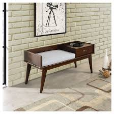 Target Threshold Tufted Bench Draper Mid Century Entryway Storage Bench Simpli Home Target