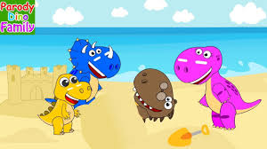 dino family vacation to the beach funny story dinosaurs for