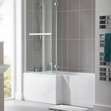 buy the essential kensington l shape shower bath pack 1700x850mm buy the essential kensington l shape shower bath pack 1700x850mm 0 tap holes white from ideal bathrooms