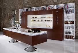 trendy l shaped kitchen design with white brick walls backsplash